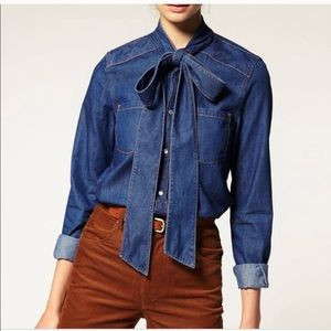 Zara denim button up with bow collar
